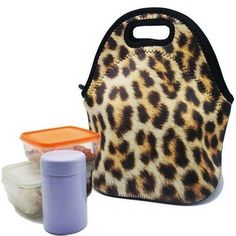 Ladies Insulated Lunch Bag Leopard Waterproof Tote Brown Gourmet Snack Food Case #LadiesInsulatedLunchBag #Womenbag #bag #fashion #women #moda #handbag