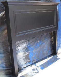 Diy King Headboard, Headboard From Old Door, Door Headboards, Vintage Headboards, Black Headboard, Headboard Ideas, Bedroom Ideas, Handmade Headboards, Rustic Wood Headboard