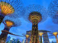 Singapore skyline at twilight.  #HappyAlert via @HappyHippoBilly