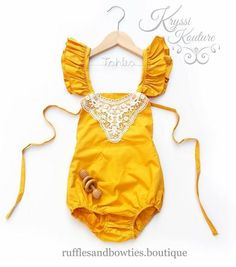 Pre Order - Kryssi Kouture Baby Girl Romper - Baby Clothes - Baby Romper - Gold Mustard Lace Romper - Bodysuit - Vintage Romper - Fall Summer - Boho - Birthday Romper