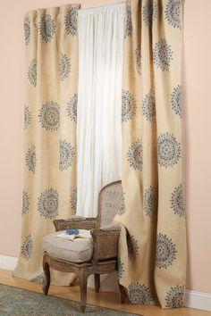 Suncrest Jute Panel - Jute Curtains, Hand Stamped Designs, Window Coverings | Soft Surroundings