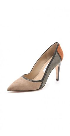 AKI COLORBLOCK PUMPS $80.06 Colorblocking adds a mod feel to these suede DVF pumps, and smooth leather divides the angled panels. Covered heel and leather sole.