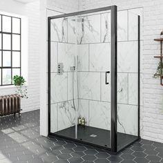 Mode black sliding shower enclosure with black slate effect tray 1200 x 800 Black Shower Tray, Slate Shower, Shower Tray Sizes, Rectangular Shower Enclosures, Framed Shower Door, Frameless Sliding Shower Doors, Glass And Aluminium, Shower Fixtures, Bathroom Interior