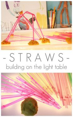 Light Table Activities for Kids - Straws on the Light Table