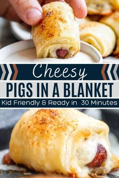 25 minutes · Serves 12 · These Pigs in a Blanket with Cheese make for the perfect appetizer or main dish, and are ready in 30 minutes. Topped with Garlic and Parmesan for the best flavor boost! Easy Appetizer Recipes, Delicious Dinner Recipes, Appetizers For Party, Good Food, Yummy Food, Pigs In A Blanket, Tailgating Recipes, Healthy Comfort Food, Lunch Ideas