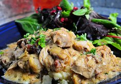 Coq au Vin Blanc - This was a wonderfully rich and flavorful comfort dish. I served it over roasted garlic mashed potatoes and it was a huge hit.