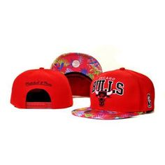 Mitchell Ness Chicago Bulls Confetti Flower Hats - Red