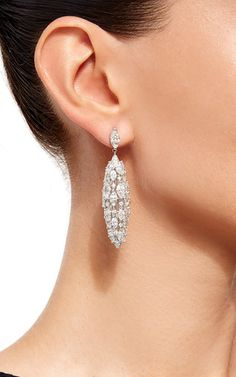 18 K White Gold And Diamond Torchere Earrings by SIDNEY GARBER Now Available on Moda Operandi