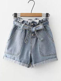 Self Tie Cuffed Denim Shorts