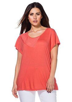 sheego T-Shirt in korallenrot mit Mesheinsatz und asymetrischer Teilungsnaht.