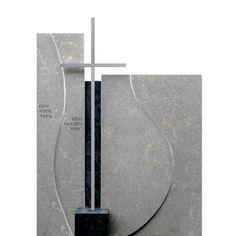 Grabmal Naturstein modern mit Edelstahl Kreuz - Ponto