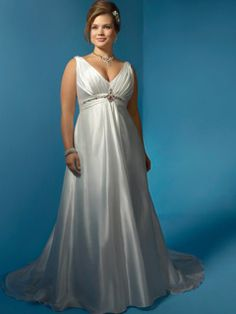 Magnifique Empire V-neck Floor-Length Chapelle Baguettes robe de mariée