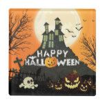 Spooky Haunted House Costume Night Sky Halloween Glass Coaster #halloween #happyhalloween #halloweenparty #halloweenmakeup #halloweencostume