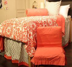 Complete dorm room bedding.  Reversible duvet, dust ruffle, euro & bolster pillows, and chair cover.  #dormbedding #custom