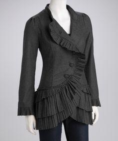 Charcoal Ruffle Sleeve Jacket