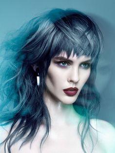 Steel Gray Haircolor with medium length hair and textured bangs