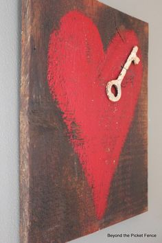 Key to My Heart--Reclaimed Wood Heart Art http://bec4-beyondthepicketfence.blogspot.com/2014/01/key-to-my-heart-reclaimed-wood-heart-art.html