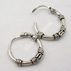 925 Pure Silver Well-Handmade Little BALI Earrings 1.6CM Indian Jewelry