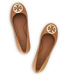 Tory Burch TUMBLED LEATHER REVA BALLET  Love love lovvvee this color! Especially with the gold logo