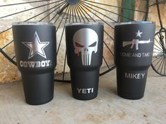 The first 2 are pretty cool Customized Yeti Ramblers by Guns Up Hydrographics Tumbler Cups, Tumbler Stuff, Dipped Yeti Cups, Yeti Cup Personalized, Custom Yeti, Best Coffee Mugs, Glitter Cups, Tumbler Designs, Cup Design