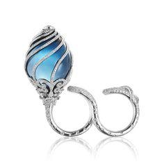 Gurmit Kaur Campbell Blue Bud ring, set with diamonds and a blue London topaz