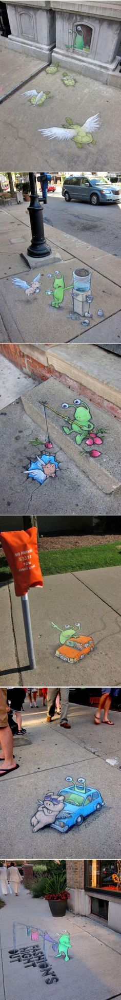 Sluggo Chalk Street Art by David Zinn