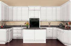 Beach Haven Raised Panel - Bright White Light Granite Countertops, Beach Haven, Modern Kitchens, Raised Panel, White Kitchen Cabinets, Stainless Steel Appliances, Moldings, Traditional Kitchen, Stove