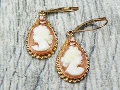 Vintage Cameo Earrings 10k Gold Cameo Earrings Hand Carved Shell Cameo Earrings Dangle Earrings Lever Back Earrings Drop Earrings by BelmarJewelers on Etsy