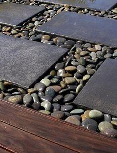 25 Beautiful Backyard Landscaping Ideas Adding Beach Stones to Modern Backyard Designs [ MexicanConnexionforTile.com ] #bathroom #Talavera #Mexican