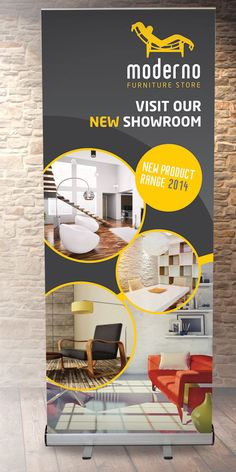 Roll-up banner design for fictional furniture store, to show potential clients…