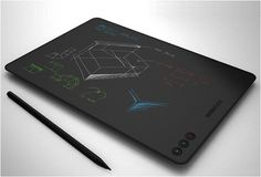 NOTESLATE | THE TABLET THAT IMITATES PAPER  The NoteSlate is a tablet with 13-inch E-Ink imitating paper. You can take notes with pen and store them digitally - so simple yet so genius. You will never buy a new Moleskine notebook.The NoteSlate identifies drawings on the screen and shows variations between the colors red, blue and green. It will be released in June this year for $100.