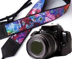 Abstract Flowers camera strap. DSLR / SLR Camera Strap. Camera accessories. Photo accessories. Colorful camera strap.
