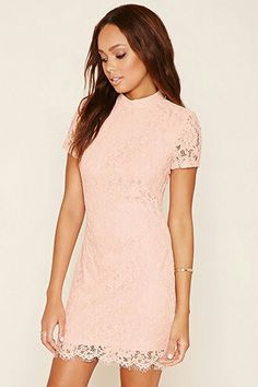 A knit bodycon dress featuring allover crochet lace with floral embroidery, a button cutout back, mock neck, short sleeves, and scalloped eyelash trim. Unique Dresses, Short Sleeve Dresses, Short Sleeves, Crochet Lace Dress, Dressed To Kill, Pink Dress, Bodycon Dress, Fashion Outfits, Women's Fashion