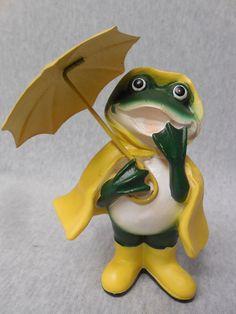 Vintage Frog with Yellow Umbrella, Rain Coat & Boots Figurine  k238