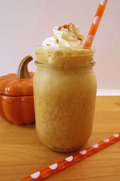 Skinny Pumpkin Spice Frappe ~ Only 45 calories, including whipped cream!It's creamy, smooth and tastes just like pumpkin pie!  But I know what your thinking, there's coffee in it!  Well of course there is, but I thought of you non-coffee drinkers too and made, you ready?  A Pumpkin and Cream Frappe just for you!  Your getting two versions of the same drink, one with coffee and one without!!