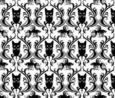 Black Cat Damask fabric by chlobell on Spoonflower - custom fabric