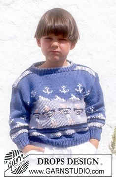 Free pattern: Sweater in Paris with sailors and anchors.