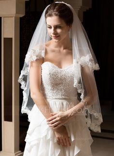 Wedding Veils - $22.99 - Two-tier Fingertip Bridal Veils With Lace Applique Edge (006035770) http://jjshouse.com/Two-Tier-Fingertip-Bridal-Veils-With-Lace-Applique-Edge-006035770-g35770