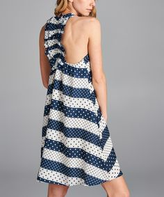 Look at this Love, Kuza Navy Stripe Ruffle-Back Swing Dress on #zulily today!