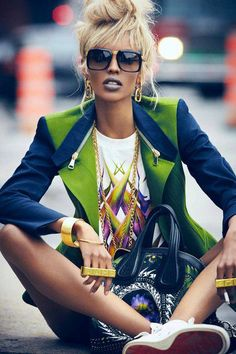 outfit with lime green jacket hip hip urban style #UNIQUE_WOMENS_FASHION