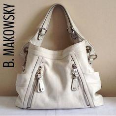 Authentic B Makowsky White Leather Large Handbag