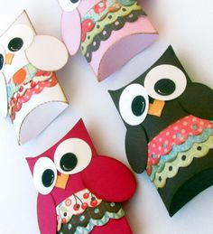 Items similar to Girl Owl Pillow Gift Boxes Set of 12 Baby Shower Birthday Party Made to Order on Etsy Owl Crafts, Crafts To Do, Crafts For Kids, Arts And Crafts, Paper Crafts, Homemade Gifts, Diy Gifts, Owl Box, Do It Yourself Inspiration