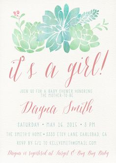 Girl Baby Shower Invitation Succulent Watercolor by kreynadesigns