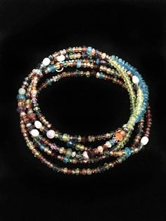 Multi-Strand Bracelet, Multi-Color Beaded Bracelet, Wrap Bracelet, Gemstone Jewelry, Beaded Wrap Bracelet, Boho Wrap Bracelet, Bracelets for Women, Womens Jewelry  This listing is for a beaded wrap bracelet. The bracelet measures 35 inches from end to end, and wraps around the wrist 5
