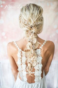 Extra Long Gold Hair Vine Wedding Headpiece, Bridal Hair Crown, Hair Wreath, Wedding Hair Vine, Boho… - Home Bridal Braids, Wedding Braids, Boho Wedding Hair, Bridal Hair Vine, Wedding Hair And Makeup, Bridal Crown, Crown Hairstyles, Bride Hairstyles, Boho Headpiece