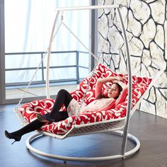 indoor hanging chaise lounge.. I love this! Enough room for two....