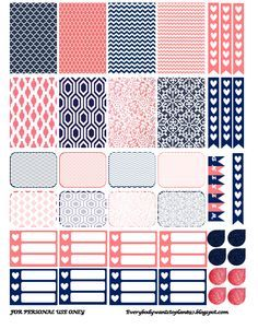 Free Navy and Coral Planner Stickers Free Planner, Planner Pages, Happy Planner, Diy Deco Rangement, Planner Supplies, Planner Ideas, Freebies, Planner Organization, Printable Organization