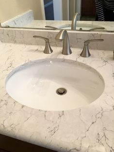 Images On Our Master Bath Vanity Upgrade Countertops Silestone Arabesque Quartz Half Bullnose edge Home Depot Sinks Glacier Bay Carlyn White Oval Undermount