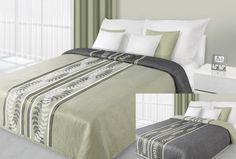 Zielone modne narzuty dwustronne na łóżko z czarnym kłosem