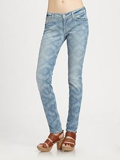 LOVE!     7 For All Mankind - Tribal-Print Skinny Jeans